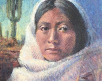Original Impressionist Painting Native American Woman Southwest Landscape Western