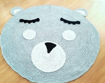 Crochet Teddy Bear Nursey Rug For Kids And Babies Room Decoration