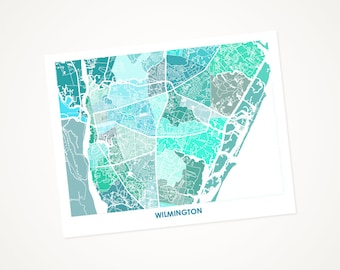 Wilmington Map Print.  Choose the Colors and Size.   North Carolina Coastal Wall Art.  Show your Local NC Love.