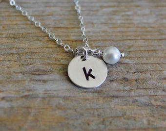 Initial Necklace, Pearl Initial Necklace, Sterling Silver, Hand Stamped Initial Jewelry, Bridesmaid Gift, Flower Girl Gift, Mom Necklace