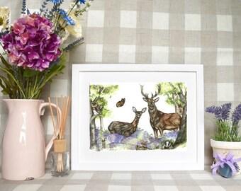 Deer scene 'woodland dream' Limited edition print
