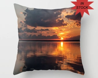 Sunset Pillow Cover, Photo Throw Cushion Cover for Sofa, Bedroom Accent, Handmade in Canada, Orange Office Lounge Decor, Birthday Gift