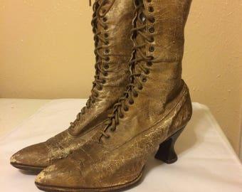 Antique Victorian Women'a Lace up Boots