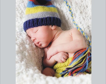 NeWBoRN Baby Boy Outfit KNiT BaBY PHoTO PRoP Hat Diaper Cover SET Tassel Stocking Cap Soaker Navy Grey Lime Orange CHooSE CoLOR Coming Home