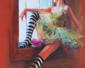 Pastel Drawing Fine Art Print - Ballerina in Striped Socks Sitting at the Window