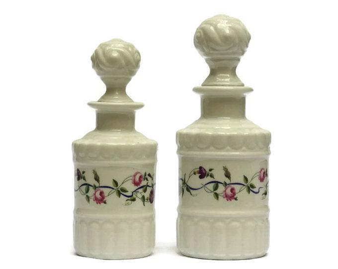 Perfume Bottles. White Porcelain de Paris Scent Flacons With Pink Roses. French Vintage Boudoir Decor. Gift for Her.