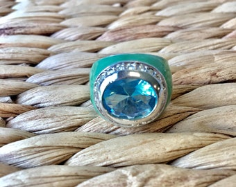 Ceramic Oval Tuquoise Ring