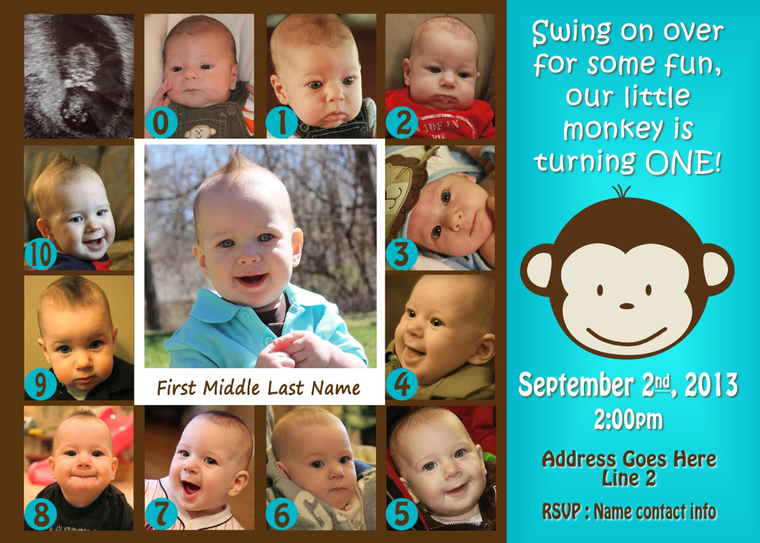 Mod Monkey Invitation Photo Mod Monkey Invite 1st Birthday