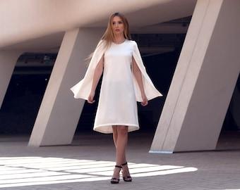 White Dress, Cape Dress, Short Summer Dress, White Dress Elegant, Cloak Dress, Prom Dress 2018, Cape White Dress, Prom Gown, Poncho Dress