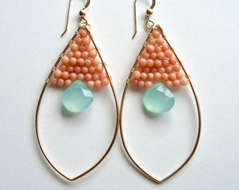 Peach Coral Mint Earrings, Boho Marquise Hoop Earrings, Peach Aqua Hoop Earrings, Coral Hoop Earrings