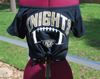 UCF Central Florida Knights Shirt Upcycled Off Shoulder Cropped with tie Waist, One Shoulder Size S/M