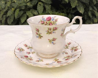 "Royal Albert Bone China ""Winsome"" teacup and saucer, Vintage teacup and saucer, Afternoon teaparty"