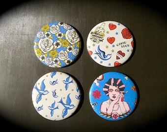 Set of 4 badges 56 mms Retro Tattoo Flash