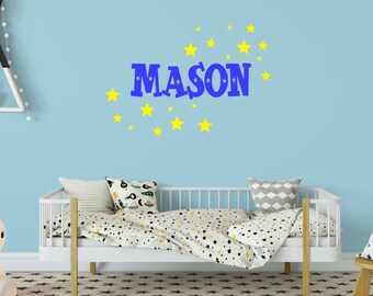 Outer Space Decal, Space Wall Decals, Boy Bedroom Decal, Boy Nursery Decal, Boy Name Wall Decal, Kids Name Decal
