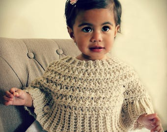 Download Now - CROCHET PATTERN Popover Poncho - Sizes 0-6 mos to Ladies 2X/3X - Pattern PDF