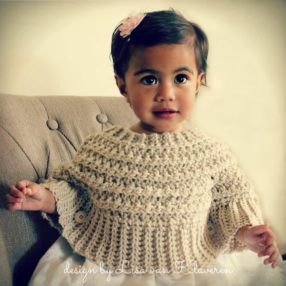 Download Now Crochet Pattern Popover Poncho Sizes 0 6 Mos