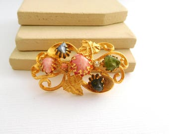 Vintage Multi-Colored Gemstone Pearl Gold Flower Scroll Nouveau Brooch Pin GG34