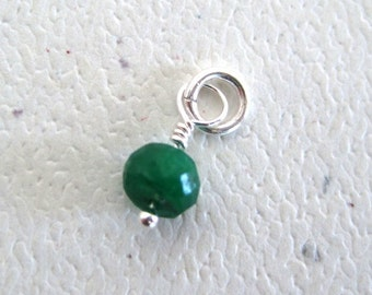 Faceted Emerald  Gemstone Dangle Charm