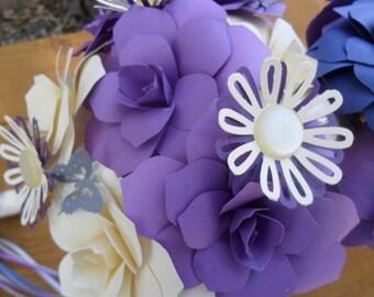 Paper Flower Wedding Bridal  Bouquet    The Forever Alternative      books origami purple lavendar