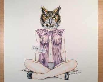 "Burlesque Print Owl Artwork Mature ""Lady of the Night""   Nude Topless 11x14"