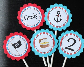 Pirate theme birthday cupcake toppers
