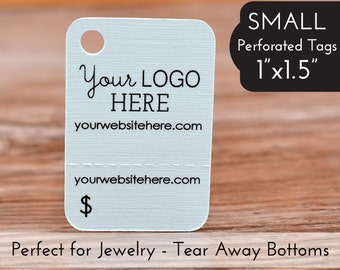 """168 - Perforated Price Tags - 1""""x1.5"""" Tear Away Bottom - Jewelry Hang Tags"""