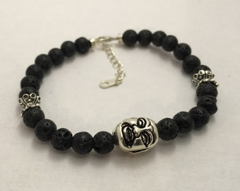 Lava rock Buddha joy spontaneity self-knowledge 925 silver bracelet