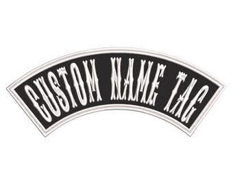 """Custom Embroidered 4"""" MINI TOP ROCKER Name Tag Patch Motorcycle Biker"""