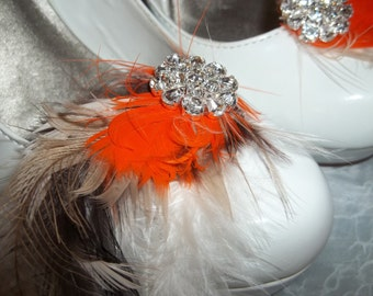 Shoe Clips , Bridal shoe clips, feather shoe clips, autum, fall, tan, brown, orange, shoe accessories, fall wedding, harvest colors, new