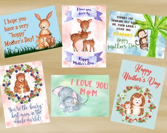 Set of Six Watercolor Animal Mother's Day Card Printables (Digital File Only)
