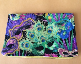 The *BusyBee* Business Card-Gift Card Holder -- Mardi Gras, Masquerade Mask, Feathers, Purple, Green