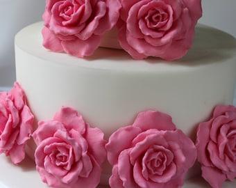 Gumpaste large rose fondant flower wedding cake birthday