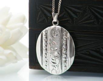Vintage Sterling Silver Locket Necklace | 1977 English Hallmarks | Queen's Jubilee Jewelry | Photo Locket - 25 Inch Vintage 925 Silver Chain