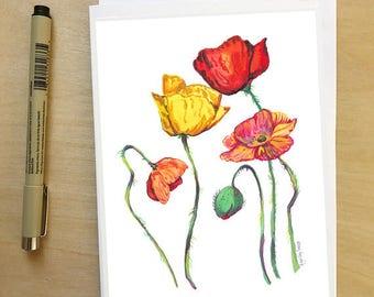 Rainbow Poppies, LGTBQIA Rainbow family || 5x7 card, Ready to Ship