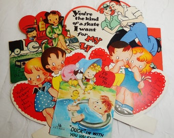 Valentine Cards, Couples Themed, Lot of 5, Mid Century, Vintage, Used Ephemera, Collectible
