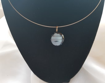 Black and grey fused glass pendant