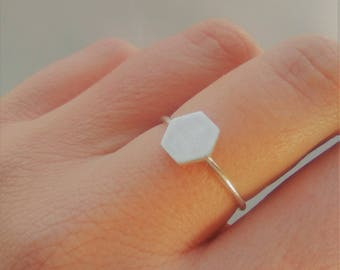 Hexagon Sterling Silver Ring