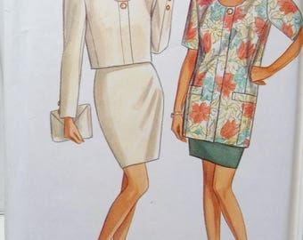 Retro Misses' Career Separates New Look 6696 Sewing Pattern Scoop Neck Lined Jacket, Bolero or Below Waist, Mini Skirt  Size 8 - 18 UNCUT