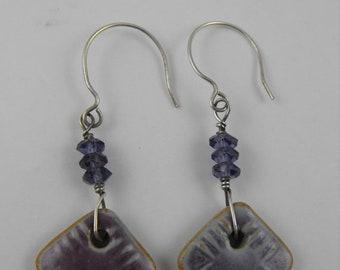 TAX Season Sale Amethyst Moon Sterling Silver and Glazed Ceramic Earrings
