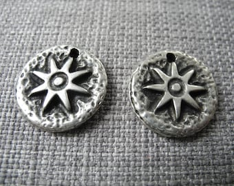 Antique silver inlaid Sun Medal