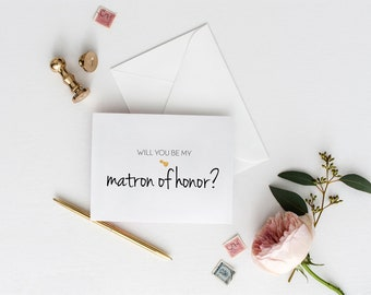 Will You Be My Matron of Honor Card / Matron of Honor Proposal Card / Bridal Party Card / Wedding Party Card / Bridal Party Proposal Cards