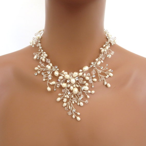 Bridal necklace Pearl necklace Wedding jewelry set