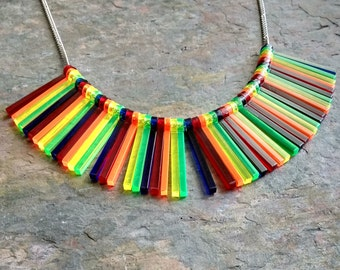 Rainbow stripe statement necklace - laser cut acrylic necklace
