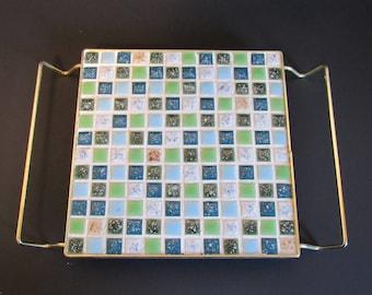 Vintage Green And Blue Mosaic Trivet Kitchen Accessories Ceramic Trivet Kitchen Pot Holders Vintage Kitchen Decor