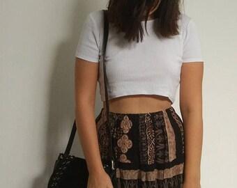 1970's bohemian tribal black skirt , 70's boho vintage groovy tribal skirt small medium high waist 70's boho skirt