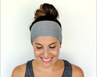 Yoga Headband - Running Headband - Workout Headband - Fitness Headband - Heathered Grey Print - Boho Wide Headband