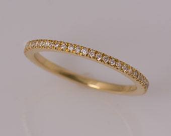 Diamonds Eternity Ring, Stackable Band, Diamonds Ring, Wedding Band, 18K Yellow Gold Ring, Pave Ring