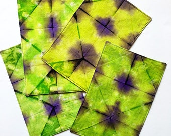 Shibori Napkins – Hand Dyed Cocktail Napkins – Set of 4 – Itajime - Hand Dyed Fabric – Housewarming Gift - Hostess Gift - Cotton Napkins