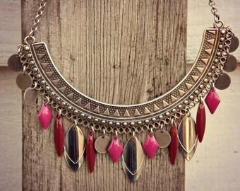 Choker Necklace, Ethnic Necklace, Boho Necklace, Woman Necklace, Ethnic Silver Necklace, Bohemian Necklace, Silver Necklace, Charms Necklace