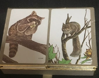 Vintage Playing Cards Congress Cel-U-Tone Set of Two Decks with Holder Wildlife Squirrel and Raccoon